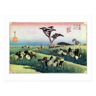 40. 池鯉鮒宿, 広重 Chiryū-juku, Hiroshige, Ukiyo-e Postcard