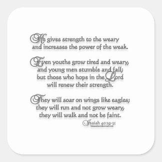 40:29 de Isaías - 31 Calcomanía Cuadrada Personalizada