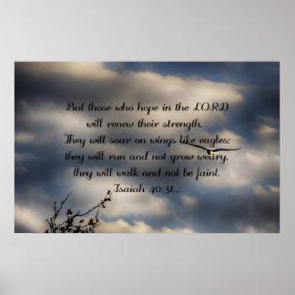 40:31 de Isaías del verso de la biblia Póster