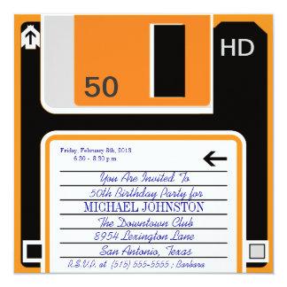 40.50,60 Age Retro Floppy Disc Birthday Invitation