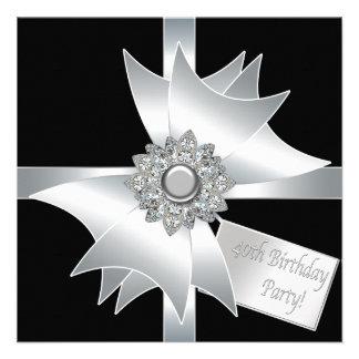 40 a fiesta de cumpleaños blanco y negro elegante anuncios
