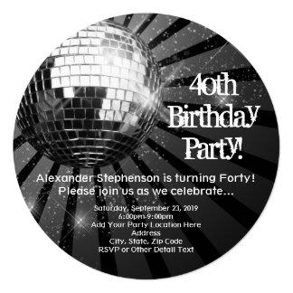 """40.a fiesta de cumpleaños de la bola de discoteca invitación 5.25"""" x 5.25"""""""
