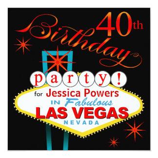 """40.a fiesta de cumpleaños de Las Vegas Invitación 5.25"""" X 5.25"""""""