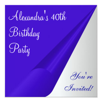40.a fiesta de cumpleaños del blanco de plata azul anuncio personalizado