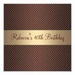 40.a fiesta de cumpleaños del chocolate elegante invitación 13,3 cm x 13,3cm