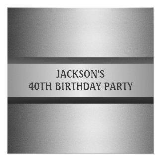40 a fiesta de cumpleaños del gris negro masculino comunicados