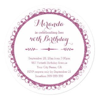 """40.a fiesta de cumpleaños del marco adornado invitación 5.25"""" x 5.25"""""""