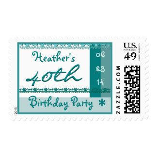 40.a fiesta de cumpleaños del nombre de encargo en timbre postal