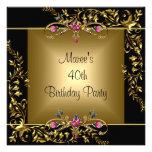 40.a fiesta de cumpleaños del rosa floral negro de comunicado personalizado