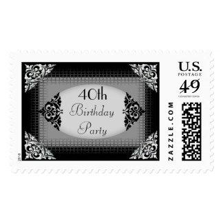 40.a fiesta de cumpleaños negra y de plata sello