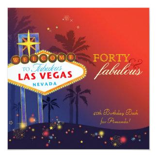 """40.a fiesta de cumpleaños única de Las Vegas Invitación 5.25"""" X 5.25"""""""