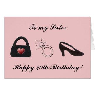 40.a hermana feliz tarjeta de felicitación