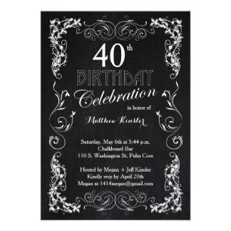 40 a invitación de la fiesta de cumpleaños de la p