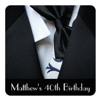 40.a invitación de la fiesta del cumpleaños de los invitación 13,3 cm x 13,3cm