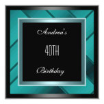 40.a invitación del cumpleaños del azul negro