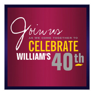 40 a invitación del cumpleaños del hombre