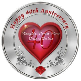 40.a placa personalizada magnífica del aniversario platos de cerámica