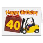 40.a tarjeta de cumpleaños con una carretilla elev