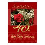 40.a tarjeta de la invitación del aniversario de b