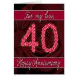 40.a tarjeta del aniversario con los rosas y las h