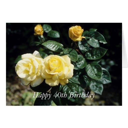 40.a tarjeta feliz de la flor del cumpleaños