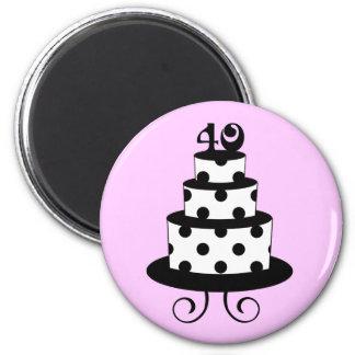 40.a torta del aniversario del cumpleaños del luna imán redondo 5 cm