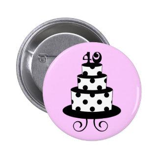 40.a torta del aniversario del cumpleaños del luna pin redondo de 2 pulgadas