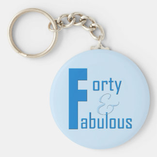 40 and Fabulous Basic Round Button Keychain