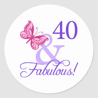 40 And Fabulous Birthday Classic Round Sticker