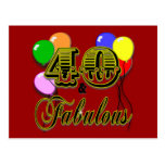 40 and Fabulous Birthday Gifts and Apparel Postcards