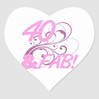 40 And Fabulous Birthday Heart Sticker