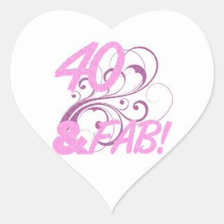 40 And Fabulous Birthday Heart Sticker