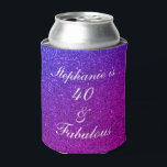 """40 And Fabulous Birthday Pink Purple Glitter Ombre Can Cooler<br><div class=""""desc"""">Designed with pretty,  girly and beautiful pink purple glittery background and personalized text template for name which you can edit,  this is perfect for the 40th birthday celebrations or gifts or party favors!</div>"""