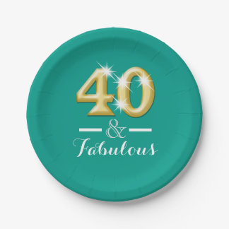 40 and fabulous birthday teal gold paper plate