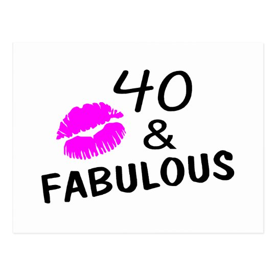40 and Fabulous (Black and Pink) Postcard