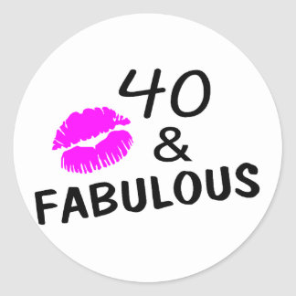 40 and Fabulous Black and Pink Stickers