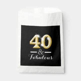 40 and fabulous black gold birthday favor bag