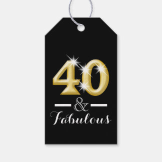 40 and fabulous black gold birthday gift tags