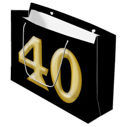 40 and fabulous black gold birthday large gift bag