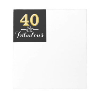 40 and fabulous black gold birthday notepad