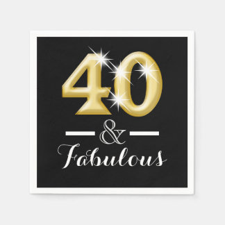 40 and fabulous black gold birthday paper napkin