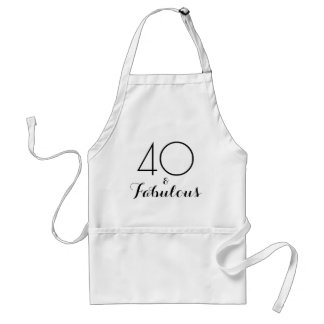 40 and Fabulous Black Typography Adult Apron