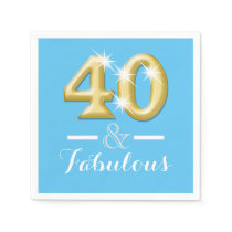 40 and fabulous blue birthday paper napkin