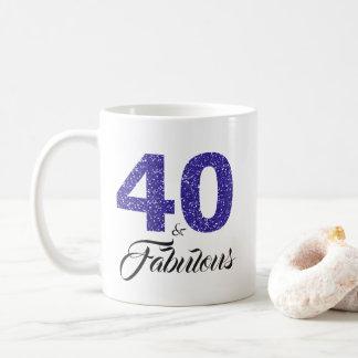 40 and Fabulous Blue Glitter 40th Birthday Coffee Mug