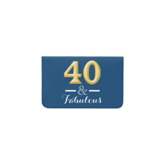 40 and fabulous blue gold birthday business card holder