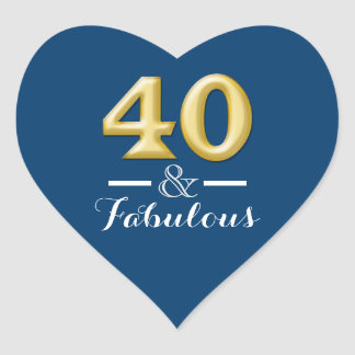 40 and fabulous blue gold birthday heart sticker