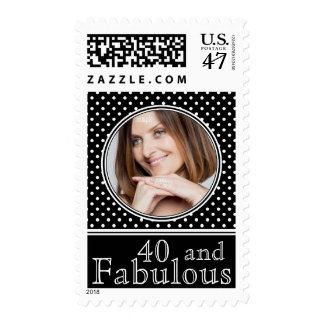 40 and Fabulous Classic Polka Dots Photo Postage