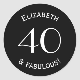 40 and Fabulous Curved Text Classic Round Sticker