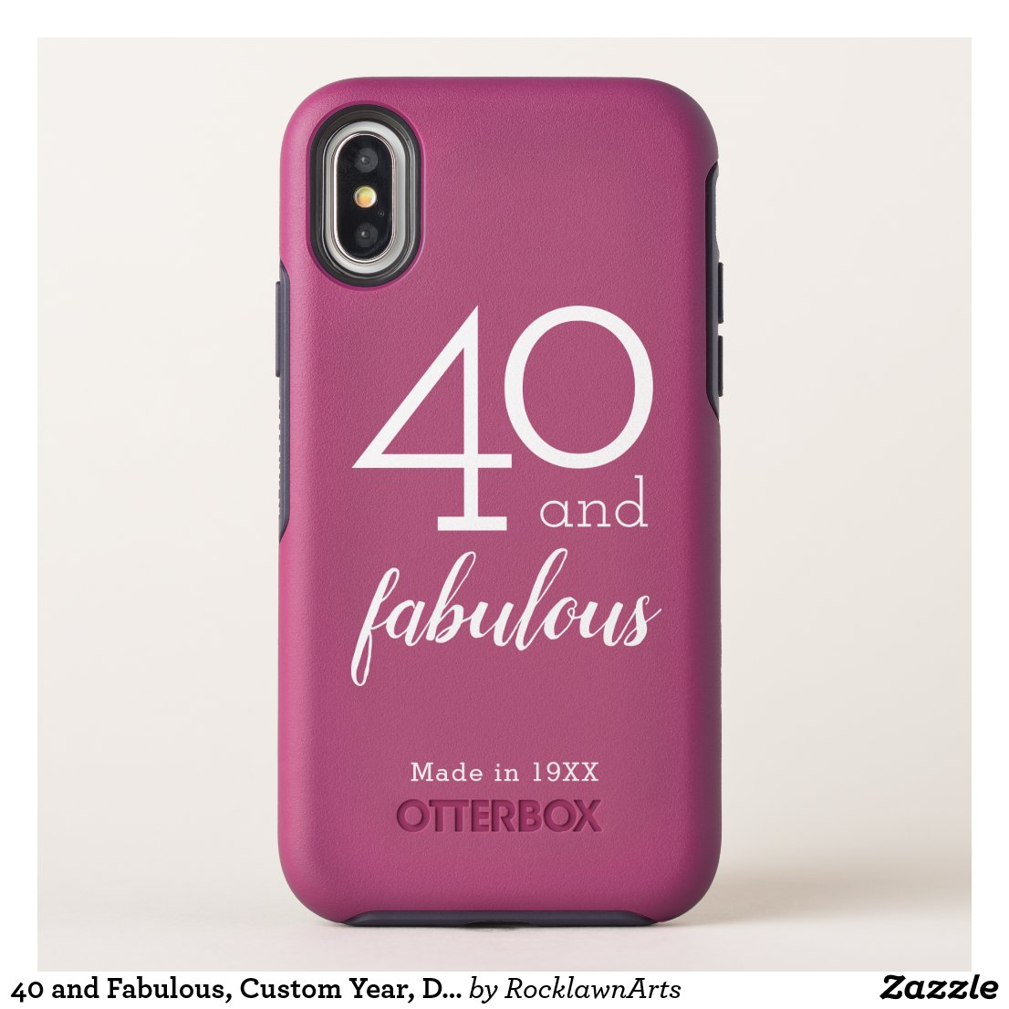40 and Fabulous, Custom Year, Dark Pink OtterBox Symmetry iPhone X Case