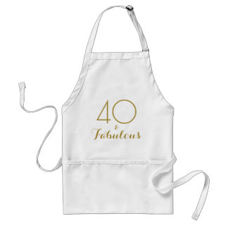 40 and Fabulous Gold Text Birthday Party Apron